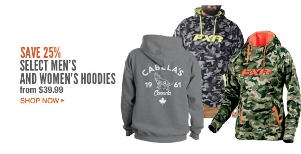 Save 25% Select Mens and Women's Hoodies