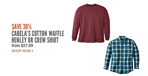 Cabela's Cotton Waffle Henly or Crew Shirt